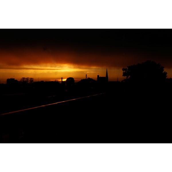 Zonsondergang, met zicht op downtown Hengelo ;-)